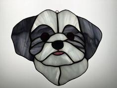 Shih-Tzu Suncatcher in Stained Glass by robinsglassworld on Etsy
