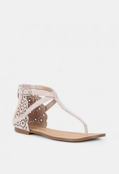 Laser cut t-strap sandalss - Teresa - French Taupe