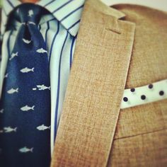 Shark tie, colors, dots + stripes; Noble Custom Clothier, man fashion