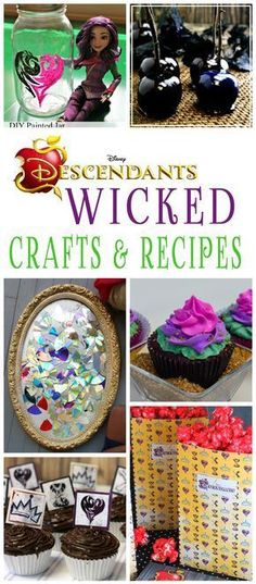25 Wicked Disney Descendants Crafts And Recipes Disney Descendants crafts and recipes that are perfect for a movie watching or birthday party. Lots of wicked fun to be had! 6th Birthday Parties, 8th Birthday, Birthday Ideas, Girl Parties, Birthday Crafts, Descendants Cake, Disney Decendants, Party Activities, Birthday Activities