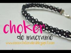 Cómo hacer un choker de macramé. Nudos de macramé.Collar. #58 - YouTube Macrame Necklace, Macrame Jewelry, Dainty Necklace, Macrame Bracelets, Macrame Tutorial, How To Do Macrame, Camera Cards, Diy Choker, Diy Braids