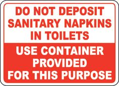 No Napkins Toilet Container Sign by SafetySign.com - D5718