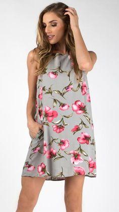 Poppy Love Side Pocket Shift Dress #grey #pink #floral
