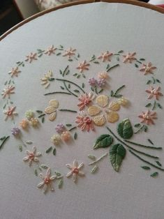 Lovely silk ribbon embroidered heart /khadijaannette/embroidery/ back - 4 LACE Ribbon Embroidery Flowers by Hand - Embroidery Patterns Silk Embroidery Dresses How To Make Silk Ribbon Embroidery Roses stitches and buttons and silk embroidery inspiration SI Embroidery Hearts, Hand Embroidery Stitches, Silk Ribbon Embroidery, Crewel Embroidery, Hand Embroidery Designs, Vintage Embroidery, Embroidery Techniques, Cross Stitch Embroidery, Embroidery Kits