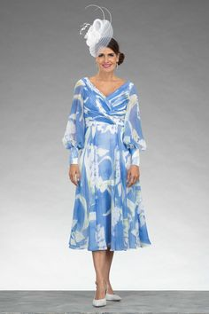 """This mid length dress features a flattering V shaped neckline with elegant puff style sleeves. You can enquire about this dress using the """"product enquiry"""" form on our website (click the link provided) Mother Of Bride Outfits, Mother Of Groom Dresses, Prom Outfits, Prom Dresses, Bride Dresses, V Neck Dress, I Dress, Special Occasion Outfits, Mid Length Dresses"""