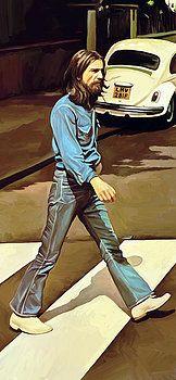 The Beatles Abbey Road - George Harrison - Artwork Part 1 Of 4 Painting John Lennon, Abbey Road, Ringo Starr, Beatles Art, The Beatles, George Harrison, Heavy Metal, Billy Preston, Road Painting