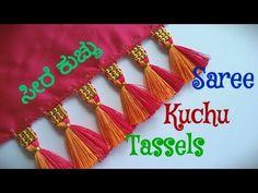 Elegant Saree Kuchu Design //Design #77 - YouTube Saree Design Patterns, Saree Tassels Designs, Cotton Saree Designs, Saree Kuchu Designs, Saree Blouse Neck Designs, Cutwork Saree, Hand Work Design, Maggam Work Designs, Hand Embroidery Dress
