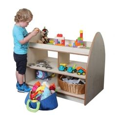 This unit, with open shelves, enables children to see and select resources from both sides, whilst the lipped top makes a fantastic play or display space. It's perfect as a central feature, or to split a large space without limiting access.