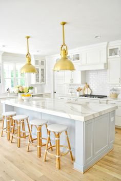 Looking for coastal kitchen ideas? Sharing our white and blue-gray coastal kitchen design! Featuring oversized brass pendants and a coastal kitchen island. Home Decor Kitchen, Kitchen Interior, New Kitchen, Cute Kitchen, Awesome Kitchen, Pastel Kitchen Decor, Farm Kitchen Ideas, Kitchen Post, Coastal Interior