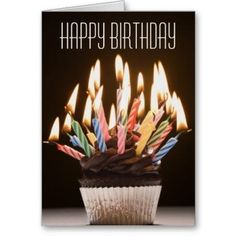 Cupcake with Birthday Candles Birthday Card