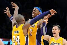 Same Page: Kobe Bryant, Dwight Howard and Steve Nash celebrate