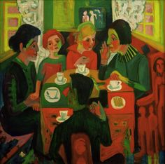 """Ernst Ludwig Kirchner (1880 – 1938) was a German expressionist painter and printmaker ~ """"Kaffeetisch"""""""
