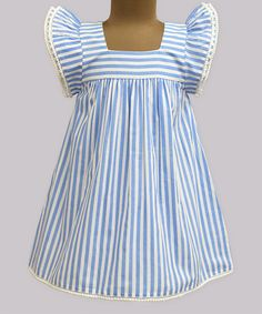 Look at this A.T.U.N. Powder Blue Stripe Angel-Sleeve Dress - Infant, Kids & Tween on #zulily today!