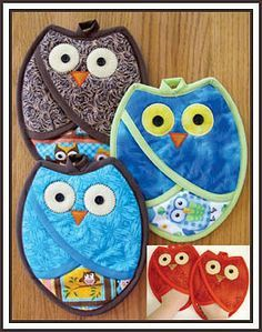 Oven Mitts and Pot Holders Patterns | pot holders and oven mitts patterns | Who Owl Pot Holders - The ...