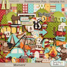 Scrap Matters Summertime fun - Camping Out Scrapbooking Freebies, Free Digital Scrapbooking, Digital Scrapbook Paper, Digital Papers, Scrapbook Layouts, Digital Art, Scrapbooks, Album, Sticker Paper
