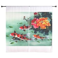 Koi Fish and Flowers cute Curtains