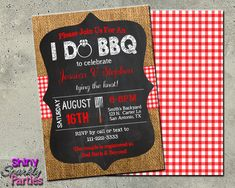 I DO BBQ INVITATION - Engagement Party Invitation - Engagement Bbq - Burlap Gingham Chalkboard Invite - Rustic Wedding Shower - Couples coed