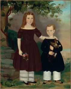 """""""Two Children"""", 1843, by Jefferson Gauntt (American, 1805-1864). Although we do not know the names of the sister and brother in this portrait, we do know (from an inscription on the back of the painting) that Gauntt painted them in Brooklyn, New York. Although sister and brother wear similar dresses, there are differences: the girl's pantaloons have more lace than her brother's, and his costume is decorated with buttons, a type of ornamentation more characteristically male."""