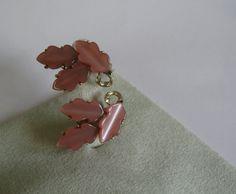 1950s-60s vintage Lisner salmon pink Lucite leaf by ggdressing