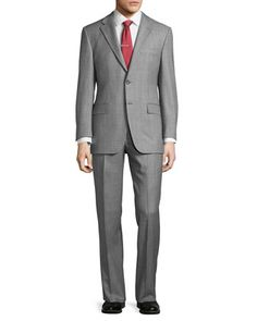 Classic-Fit+Lindsey+Sharkskin+Two-Piece+Suit,+Mid+Gray+by+Hickey+Freeman+at+Neiman+Marcus+Last+Call.