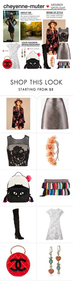 """Member Spotlight: Cheyenne-Muter"" by polyvore ❤ liked on Polyvore featuring Vintage Havana, Miu Miu, Coast, Charlotte Russe, Betsey Johnson, Christophe Sauvat, Sam Edelman, Chanel and MemberSpotlight"