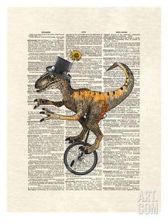 Raptor Unicycle Art Print by Matt Dinniman at Art.com