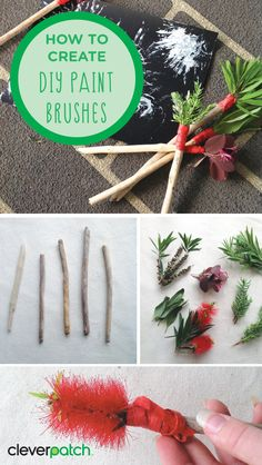 DIY Paint Brushes - Use natural materials to create your own paint brushes! Experiment and play with the unique textures and lines your brushes will create! Naidoc Week Activities, Childcare Activities, Art Activities For Toddlers, Lesson Plans For Toddlers, Earth Day Activities, Animal Activities, Craft Activities For Kids, Crafts For Kids, Aboriginal Art For Kids