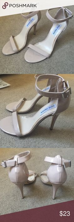 Steve Madden nude strap heels 7.5 Cute and stylish heels worn a few times  they have a small stain on the inner side of the left heel as you can see in the third picture it is not noticeable when wearing them I believe it is nail polish and can be wiped down with acetone Steve Madden Shoes Heels