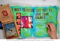 Traci Bunkers uses balzer designs stencil to create an awesome art journal page