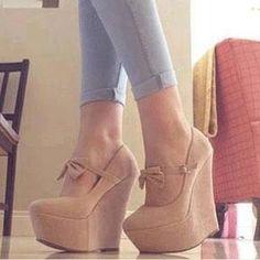 Comfortable Wedge Heel Platform Camel Suede High Heel Shoe