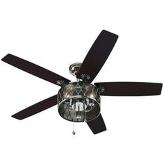 Harbor Breeze Angora Harbor 52-in Polished Nickel Downrod Mount Ceiling Fan with Light Kit Lowes $139