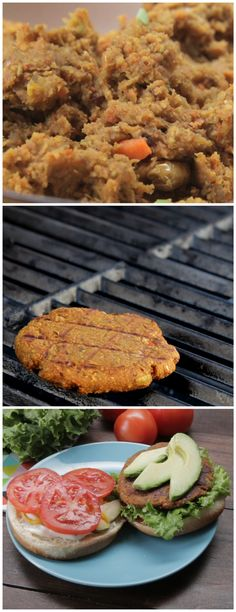 Great recipe for Spicy Masala Burgers, made with potatoes, carrots, peppers, edamame, oats, turmeric, and masala spices.