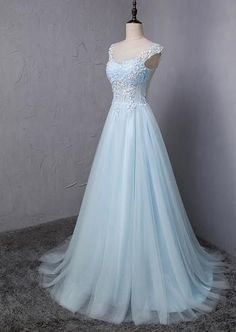 See Through Cap Sleeve Light A-line Long Evening Prom Dresses, 17623 – LoverBridal Magnus Karlsson Kohallsvägen 43254 VARBERG Sweden 70 867 22 58 Blue Lace Prom Dress, Pretty Prom Dresses, Prom Dresses With Sleeves, Blue Wedding Dresses, Ball Gown Dresses, Homecoming Dresses, Cute Dresses, Bridal Dresses, Beautiful Dresses