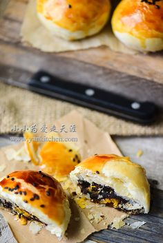 Flaky Asian Buns with Red Bean Paste and Salted Duck Egg Yolks — Yankitchen Blueberry Yogurt Popsicles, Coffee Popsicles, Asian Bread Recipe, Asian Buns, Chinese Moon Cake, Salted Egg Yolk, Red Bean Paste, Asian Grocery, Egg Yolks