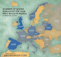 Europe has contributed some of the most famous writers, poets, playwrights, essayists, printers and publishers. Throughout the ages writing has been a key part of our culture, which has expressed emotions, dreams, historical facts and future aspirations in beautiful words. Here is how many books have been published in recent years, per year, per one million people. The usual East-West and North-South divides do not apply here, with a varied distribution of books published per capita…