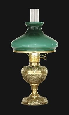 Early style embossed brass lamp | Antique Lamp Supply