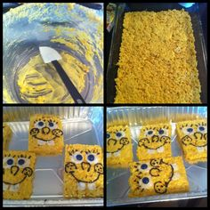 Made spongebob rice crispy treats for my son's 3rd birthday!!!!