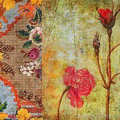Vintage Floral Grunge Scrapbook Background by Jodielee, via Dreamstime