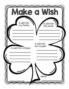 A FREE page by Expressive Monkey. Use this lucky 4-leaf clover to get to know your students better. As they write a sentence about their wishes for their family, the world, a friend and themselves, you'll be surprised about how much you learn about them. This sheet also reinforces the idea people should think about the world and others instead of only themselves for their wishes.: