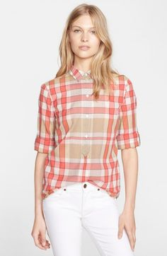 Burberry Women's Brit Check Cotton Silk Roll Sleeve Shirt | Top and Clothing