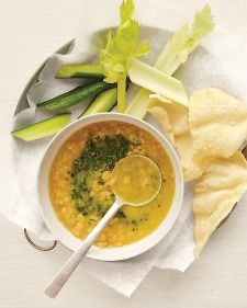 This Indian-style soup has an almost creamy quality thanks to yellow lentils. (If you can't get them, swap in yellow split peas, and cook them 10 minutes or so more.)