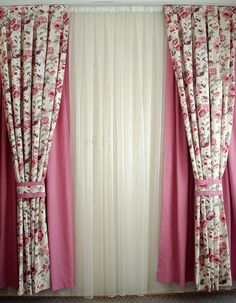 $180 Country Style Floral Printed Custom Size Pair of Decorative Double Layers Curtain Drapes with Tabs Curtain Tie Backs
