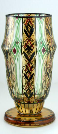 c.1910-20 SCHWARZLOT ENAMELLED GLASS GOBLET VASE, POSSIBLY ADOLF BECKERT STEINSCHÖNAU BOHEMIA.