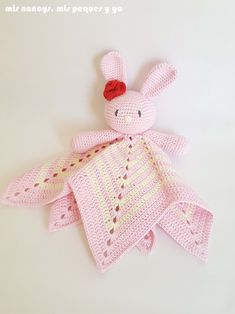 mis nancys, mis peques y yo, manta de apego con conejita amigurumi, mantita de apego para bebe Crochet Ripple Blanket, Crochet Lovey, Crochet Baby Cocoon, Crochet Blanket Patterns, Crochet Gifts, Cute Crochet, Crochet Toys, Crochet Cowl Free Pattern, Crochet Patterns Amigurumi