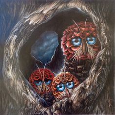 "Beautiful PRINT of ""ANYHOOTS"" - an original of pinecone owls by Heather J. McKey"
