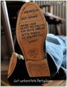 Schuhsohlennachricht