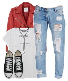 """""""take me away in the pocket of your ripped jeans ;))"""" by aiyanaa ❤ liked on Polyvore featuring MANGO, Missguided, Converse and Miss Selfridge"""
