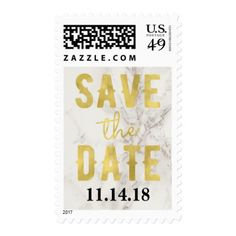 Faux Marble and Gold Elegant Wedding Postage