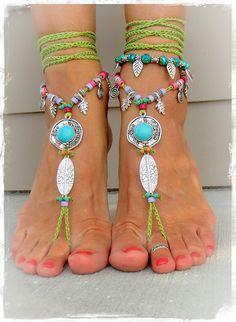 Turquoise Boho BAREFOOT Sandals IBIZA fun sandals Green by GPyoga