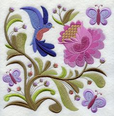 Crewel Embroidery Patterns Machine Embroidery Designs at Embroidery Library! Bordado Jacobean, Crewel Embroidery Kits, Machine Embroidery Patterns, Ribbon Embroidery, Embroidery Ideas, Embroidery Tattoo, Simple Embroidery, Embroidery Supplies, Machine Applique